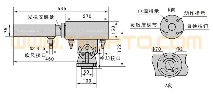 HMD热金属检测器主要用于冶金工业系统中,通过对高温工件的检测,判断工件的运动位置,输出一控制用开关信号。 它具有以下特点: (1) 可在较恶劣的环境下工作(如高温、潮湿、水雾,粉尘等恶劣环境中)。 (2) 可长时间连续可靠工作。 (3) 本检测器为电源、控制器、输出一体化,安装方便。 灵 敏 度:顺时针旋转,由低到高; 保 护:直流输入极性保护,电平输出短路及过载保护; 操作角度:方位角45,俯仰角45; 激光瞄准:根据用户要求,可加装红色激光瞄准装置,便于安装调整。